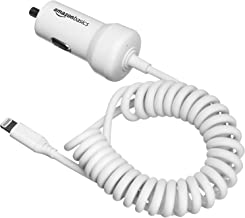 AmazonBasics Coiled Cable Lightning Car Charger - 5V 12W - 1.5 Foot - White