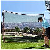 Filet de Golf Practice Filet Dentraînement de Golf Hitting Net Filet Golf Entrainement Portable, Filet de Golf Familial pour l'intérieur et l'extérieur avec sac de Transport (Noir Rouge 3 X 2.1M)