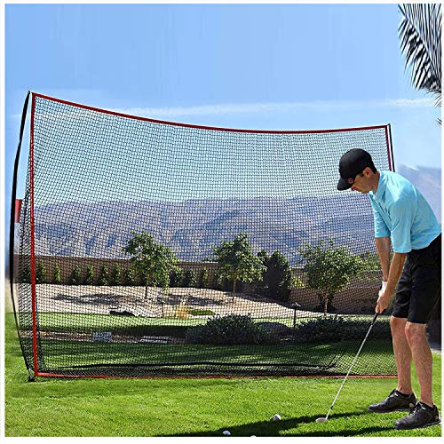 Filet de Golf Practice Filet Dentraînement de Golf Hitting Net Filet Golf Entrainement Portable, Filet de Golf Familial pour l'intérieur et l'extérieur avec sac de Transport (Noir Rouge 3 X 2.1M)