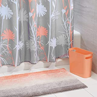 mDesign 3 Piece Decorative Bathroom Decor Set - Floral Polyester Fabric Shower Curtain, Ombre Microfiber Non-Slip Bathroom Accent Rug, Plastic Wastebasket Trash Can - Coral/Gray/White