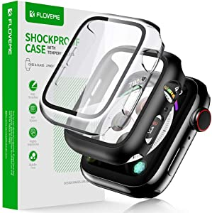 FLOVEME 2 Pack 44mm Screen Protector Fit for Apple Watch Series 6 5 4 SE Protective Case with Tempered Glass Bumper