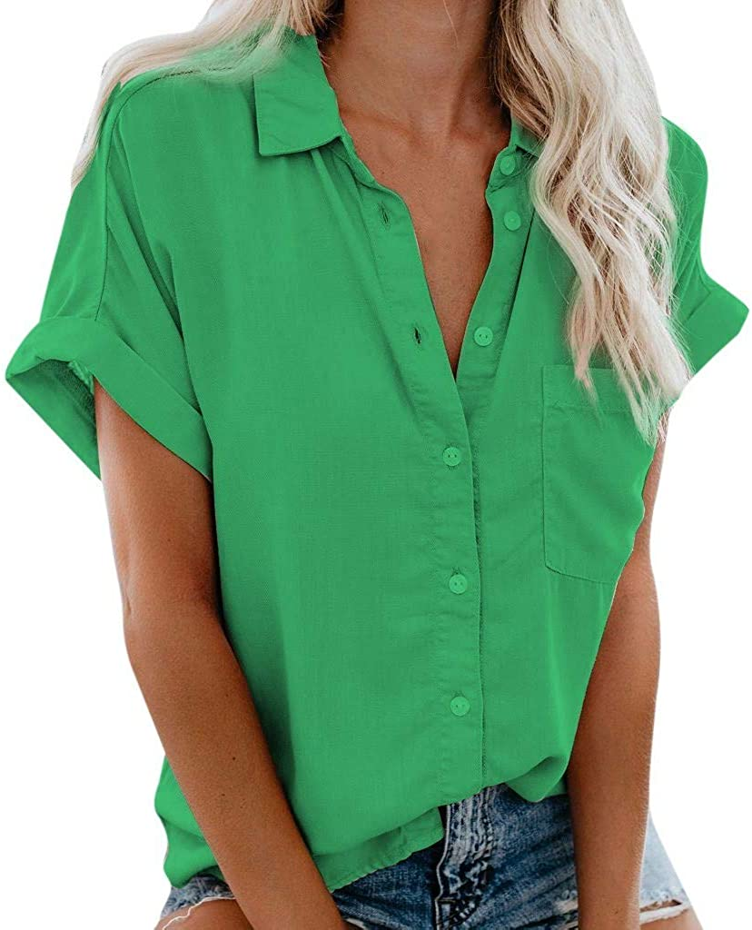 Women's Short Sleeve Button Down V-Neck Shirts Summer Casual Tops with Pockets Solid Color Blouse