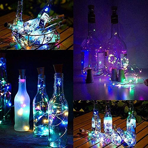 3M 30 LED Multi-Color Bottle Lights (10 Pack) Copper Wire Cork Rope Lights Battery Operated for Wine Bottle Starry String Light for Parties Wedding Christmas Decoration-10 × muticolor incompara