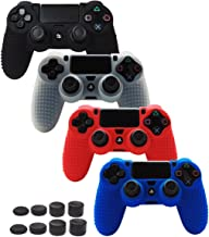 Best Skin Compatible for PS4 Controller Grips Cover Pandaren Studded Anti-Slip Silicone Sleeve for PS4 /Slim/PRO Controller(Controller Skin x 4 + FPS PRO Thumb Grips x 8)(Black,White,Red,Blue) Review