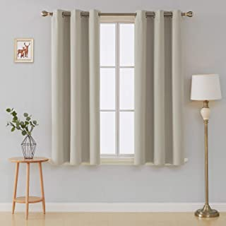 Deconovo Room Darkening Thermal Insulated Blackout Grommet Window Curtain Panels Sets of 2 for Living Room Light Beige 42x63 Inch