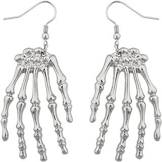 Lux Accessories Halloween Girls Fun Skeleton Hand Goth Drop Earrings