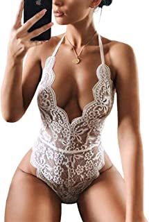 Lace Bodysuit for Women Sexy Eyelash Teddy Valentine's Day Lingerie Naughty Negligee Bodysuit