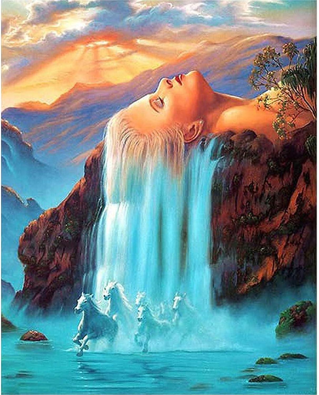 Malen Nach Nach Nach Zahlen Schönheit Bild Lange Haare Wasserfall Running Horse Für Erwachsene Home Decor DIY-Framed B07Q38NG3H | Sale  200901