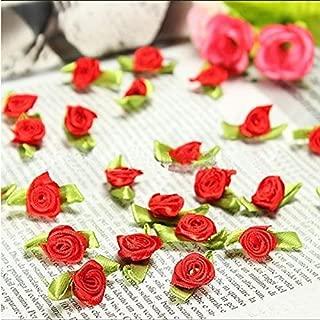100 PCS Mini Ribbon Bows Roses Flowers Craft Artificial Ornament Applique Sewing DIY (Red)