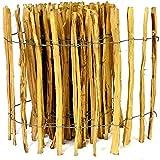 Kastanienzaun Staketenzaun aus Haselnuss in 26 Größen Höhen 50 cm - 150 cm Länge 5 / 10 Meter Zaun mit gut gespaltenen Stäben und sicheren Spitzen (Höhe: 80cm X Länge: 500cm, Lattenabstand: 3-4 cm)