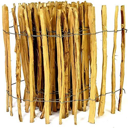 Kastanienzaun Staketenzaun aus Haselnuss in 26 Größen Höhen 50 cm - 150 cm Länge 5 / 10 Meter Zaun mit gut gespaltenen Stäben und sicheren Spitzen (Höhe: 120cm X Länge: 500cm, Lattenabstand: 3-4 cm)