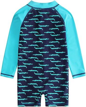 Rash Guard Crew Shirt Langarm Schwimmshirt Jammers Wassersport Surfen Basic Skin f/ür Kinder MEHRWEG COOLOMG Jungen Badeshirt UV Sonnenschutz UPF 50