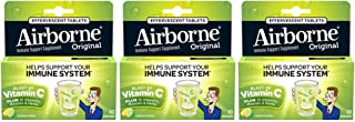 Vitamin C 1000mg (per serving) - Airborne Lemon Lime Effervescent Tablets (10 count in a box), Gluten-Free Immune Support ...