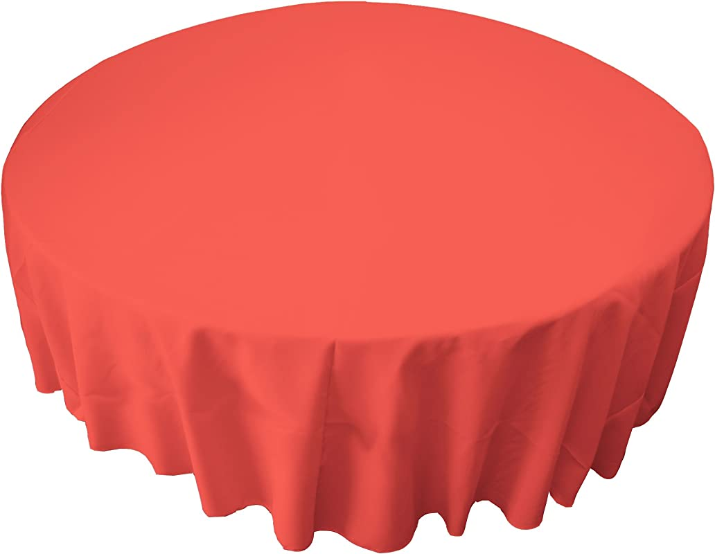 LA Linen Tablcloth Polyester Poplin Tablecloth 72 Inch Round Coral