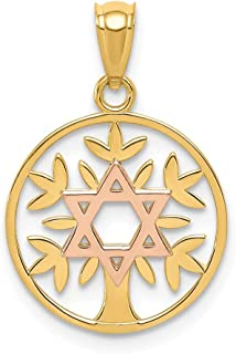 14k Two Tone Yellow Gold Rose Jewish Jewelry Star Of David Tree Life Pendant Charm Necklace Religious Judaica Fine Jewelry Gifts For Women For Her
