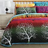 Swanson Beddings Rainbow Tree Bedspread Coverlet Quilt Set: Quilt and Pillow Shams (Queen)