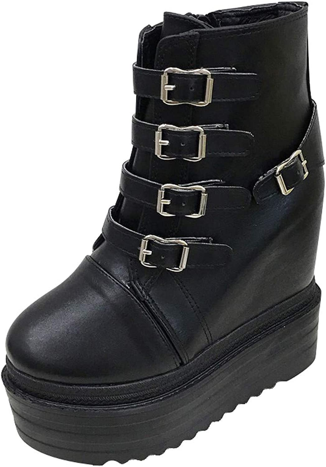 GTVERNH Women's shoes 14Cm Super High Heel Slope Heel shoes Waterproof Platform Muffin Thick Sole Martin Boots Night Club Sexy Belt Buckle Fleece shoes for Women