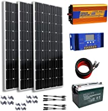300 Watts 12V Complete Solar Kit: 3pcs 100W Mono Solar Panel + 1KW Pure Sine Wave Inverter + 16Ft Cable Adapter + 60A PWM Charge Controller + Y Branch MC4 Connectors + Z Brackets + 100AH Battery