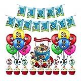 Cumpleaños Patrulla Canina,Paw Patrol cumpleaños Pancarta,Balloons, Adornos de pastel,for Kids Gift Fiesta de cumpleaños Suministros Decoración
