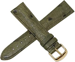 Swiss Legend 22MM Green Ostrich Leather Watch Strap with Gold Stainless Buckle fits 42mm Bellezza Watch