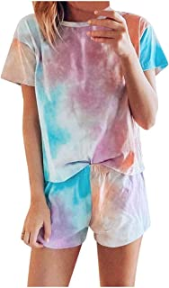 Women Tie-dye Short Sleeve Pajama Set, Ladies Summer O-neck Short Tops + Shorts Home Sleepwear Set