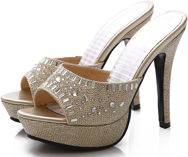 IDIFU Women's Dressy Rhinestone Stiletto Slip On Sandals Platform Mules with Heels gold