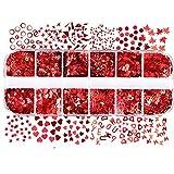 Pinxuan Lentejuelas rojas para decoración de uñas, 12...