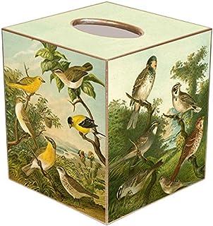 Yellow Birds Paper Mache Tissue Box Cover