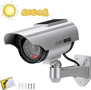 Cámara Falsa Cámara de vigilancia Falsa simulada con Bala Solar Cámara Domo CCTV de Seguridad con luz LED Intermitente para Exteriores Interiores hogar Negocios (1 Paquete)