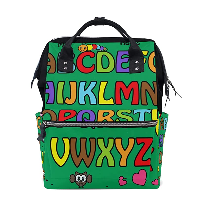 Green English Capital Letters Alphabet School Backpack Large Capacity Mummy Bags Laptop Handbag Casual Travel Rucksack Satchel For Women Men Adult Teen Children