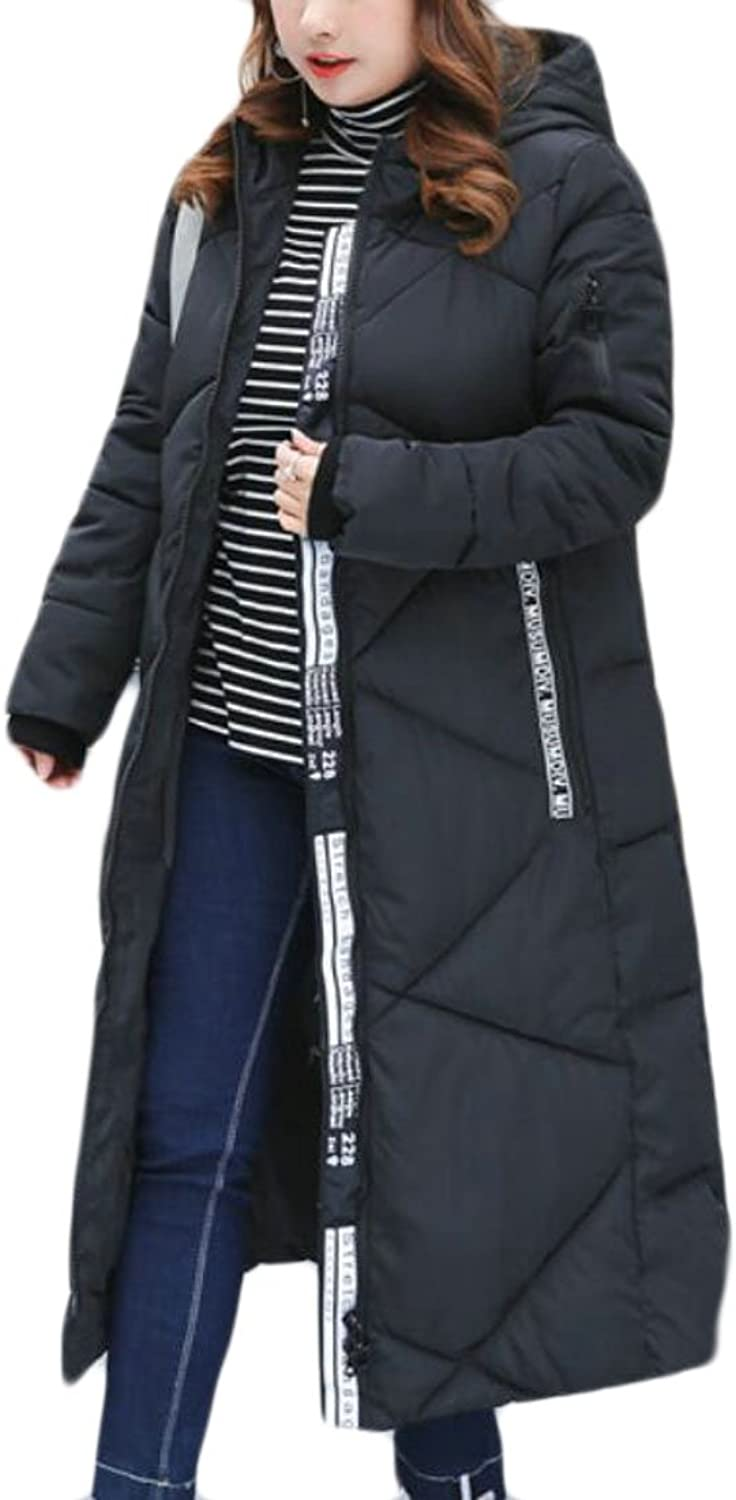 GAGA Women Quilted Full Zipper Parker Plus Size Puffer Down Coat