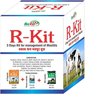 REFIT ANIMAL CARE - Veterinary Anti Mastitis Supplement Powder for Cattle, Cows and Buffalo (R-KIT 3 Days Pack)