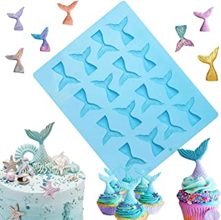 Sakolla 16 Cavity Mermaid Tail Silicone Mold for Fondant, Cake Decoration, Chocolate, Soap, Candy, Jello, Cupcake Topper, Gumpaste, Clay, Ice, etc.