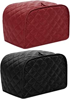 FUTISKY 4 Slice Toaster Dust Cover Bread Maker Protective Cover Dust Proof Bag 2 Pack Red & Black (4 Slice Toaster Cover)