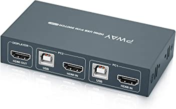 GREATHTEK HDMI KVM Switch 2 in 1 Out Box, 4K@30Hz with USB 2.0 Hubs, HDMI Cables and USB-B Cables Attached, Downward Compatible Lower Resolution