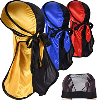 Two Tone Silky Durag Pack for Men Award 1 Wave Cap