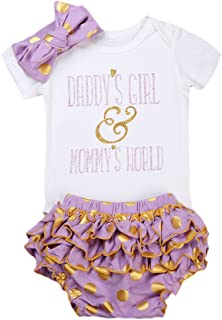 Newborn Baby Girl Bodysuit Romper + Dot Ruffle Shorts + Headband Clothes Outfits