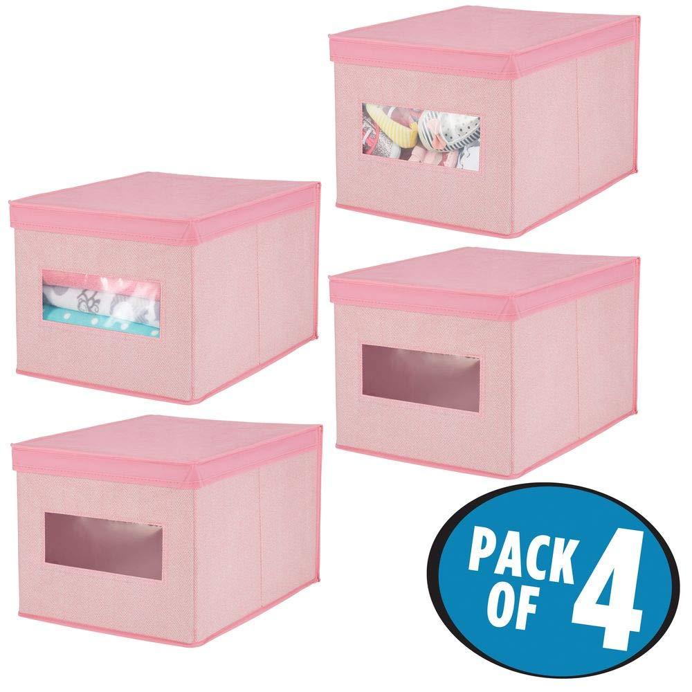 mDesign Juego de 4 cajas de tela para cambiador – Cajas con tapa de calidad en fibra sintética transpirable – Caja ...