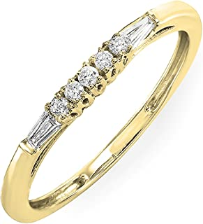 0.13 Carat (ctw) 10K Gold Round & Baguette Diamond Ladies Wedding Stackable Guard Band