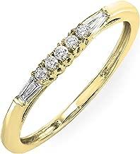 Dazzlingrock Collection 0.13 Carat (ctw) 10K Gold Round & Baguette Diamond Ladies Wedding Stackable Guard Band