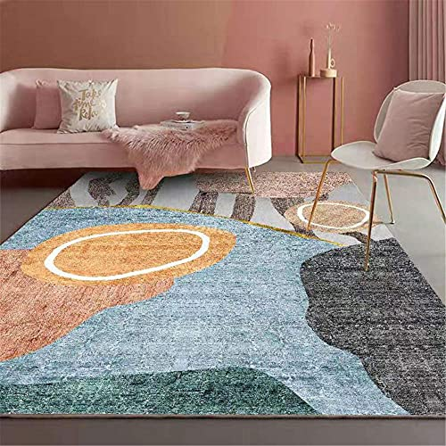 WCCCW La combinación Abstracta de múltiples Colores no es fácil de desvanecer y fácil de cuidar la Alfombra de la Zona del hogar del Corredor de la Cama del dormitorio-100x200cm para Comedor, Dormit