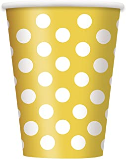 Unique Industries, Disposable Paper Cups, Party Supplies - Yellow Polka Dot, 12oz, Pack of 6