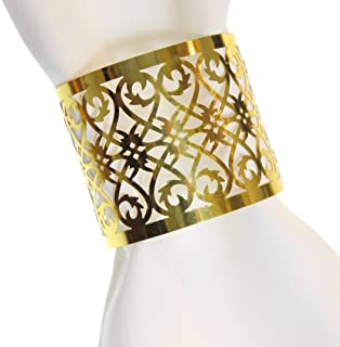 CB Accessories Premium Napkin Rings Set of 24 Laser Cut Foil Paper for Table Decoration, Dinner Parties, Weddings, Special Events and Catering Services (Gold, 24 Pieces)
