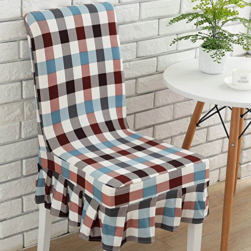 PPOOLLKKMM 1 Pc Spandex Elastische grote schommel Eetstoel Cover Korte Plaid Geometry Bloemen Stoel Cover Party Office Computer Stoel Cover universal sizes 4