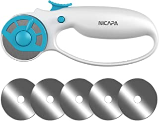 NICAPA 45mm Rotary Cutter for Fabric with Safety Lock Ergonomic Classic Comfort Loop..