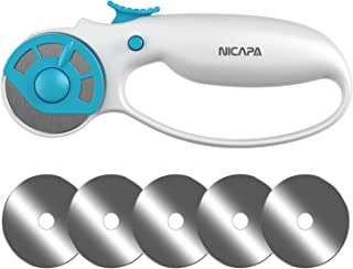NICAPA 45mm Rotary Cutter for Fabric with Safety Lock Ergonomic Classic Comfort Loop Rotary Cutter for Crafting Sewing Quilting (Extra 5pcs 45mm Replacement Blades Included)