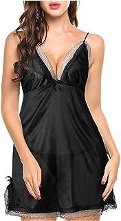 Womens مثير الصليب الرافعة باس النوم nightie الملابس الداخلية ملابس نوم عازلة للنساء (اللون: أسود، المقاس: مقاس : مقاس واحد)