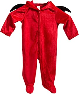 iBonny Baby Romper Cosplay Devil Costume Toddler Cosplay Pajamas Kid One Piece Sleeping Wear Red for 6-12M