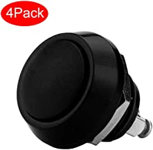 A+Selected 4Pack Momentary Push Button Switch, Black Waterproof SPST DC 36V 2A Stainless Steel Metal Shell Suitable for 1/2