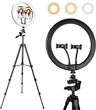 """Selfie Ring Light 12"""" with 56"""" Extendable Tripod Stand & 2 Phone Holder for iPhone and Android Phone, Lusweimi Dimmable Led Ring lights for Live Stream/YouTube/TikTok/Makeup/Photography"""